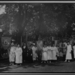 1922 National Woman's Party members gathered outside with banners during the dedication ceremonies for the Alva E. Belmont House