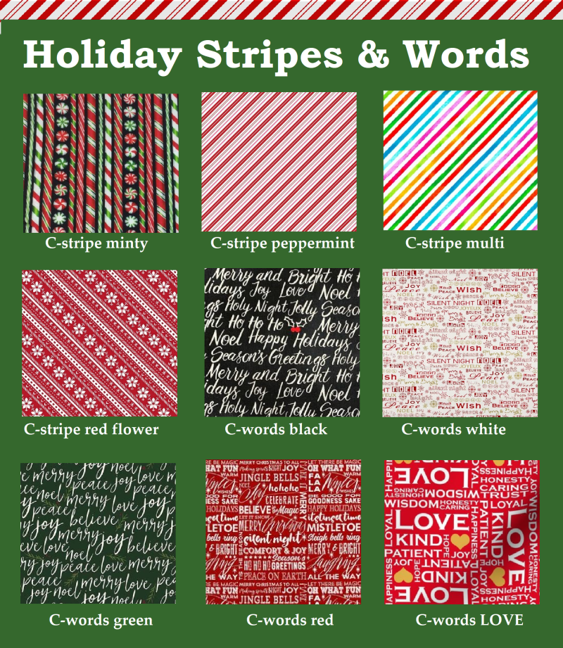 Holiday stripes & words