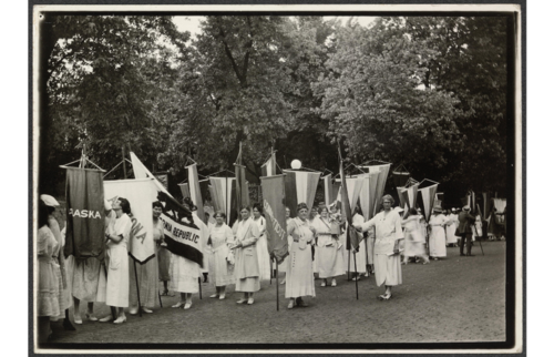 1922 National Woman's Party members standing in line with banners during the dedication ceremonies for the Alva E. Belmont House, 1922