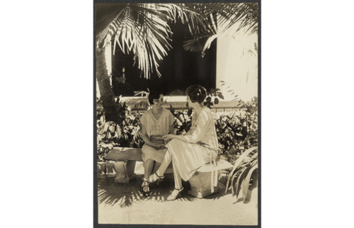 1928 Doris Stevens, right, talking to Sra. Gonzales at Pan-American Conference, Havana, Jan. 1928