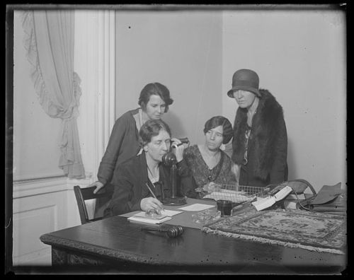 1930 Feminists telephone the Hague to determine their status in proposed World Code