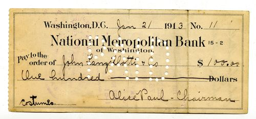 1913 Jan 21, check signed by Alice Paul