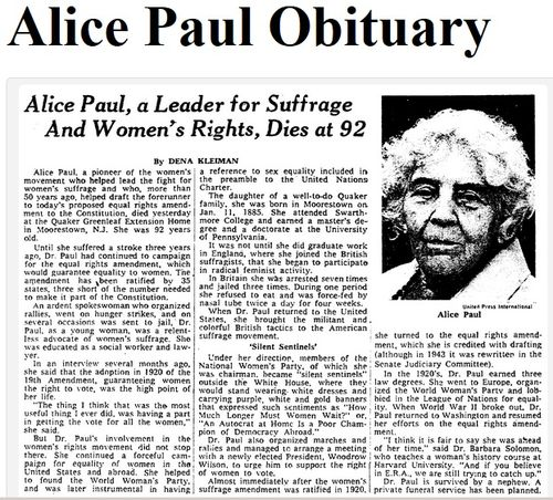 alice paul and the womens suffrage movement essay