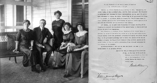 President Wilson with wife and 3 daughters.  Mother's Day Proclamation